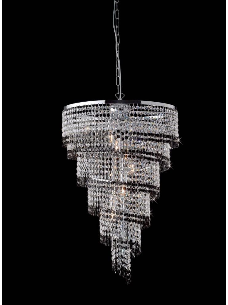 Lampadario moderno in cristallo trasparente e nero 6 luci