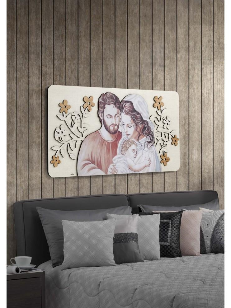I quadri sacri per una camera da letto moderna è preferibile che. Capezzale Quadro Moderno Sacra Famiglia 119x59 In Legno Laser M3