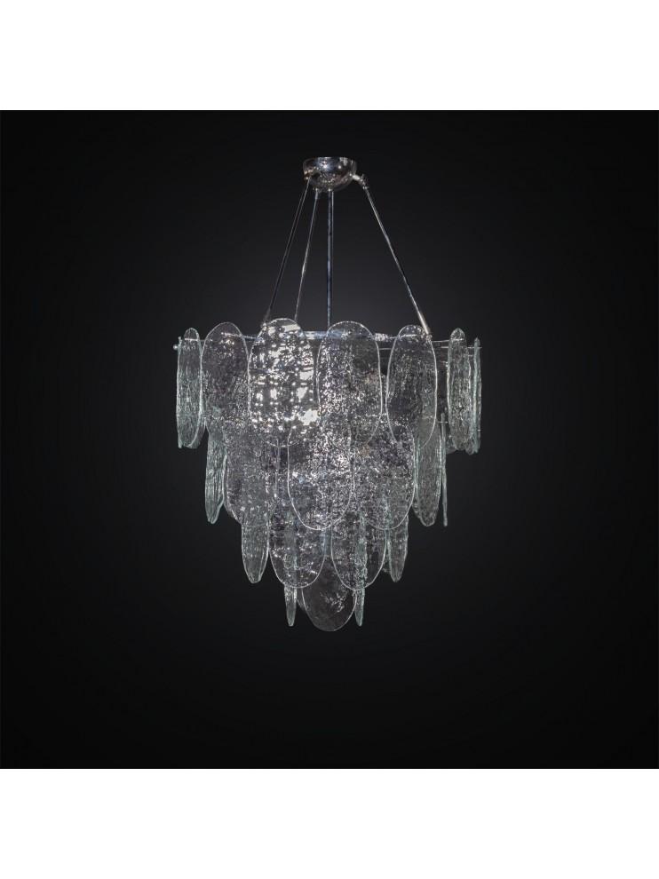 Oggetti unici in vetro di murano. Lampadario Moderno Con 40 Vetri Murano Trasparenti 6 Luci Bga 3019 40v