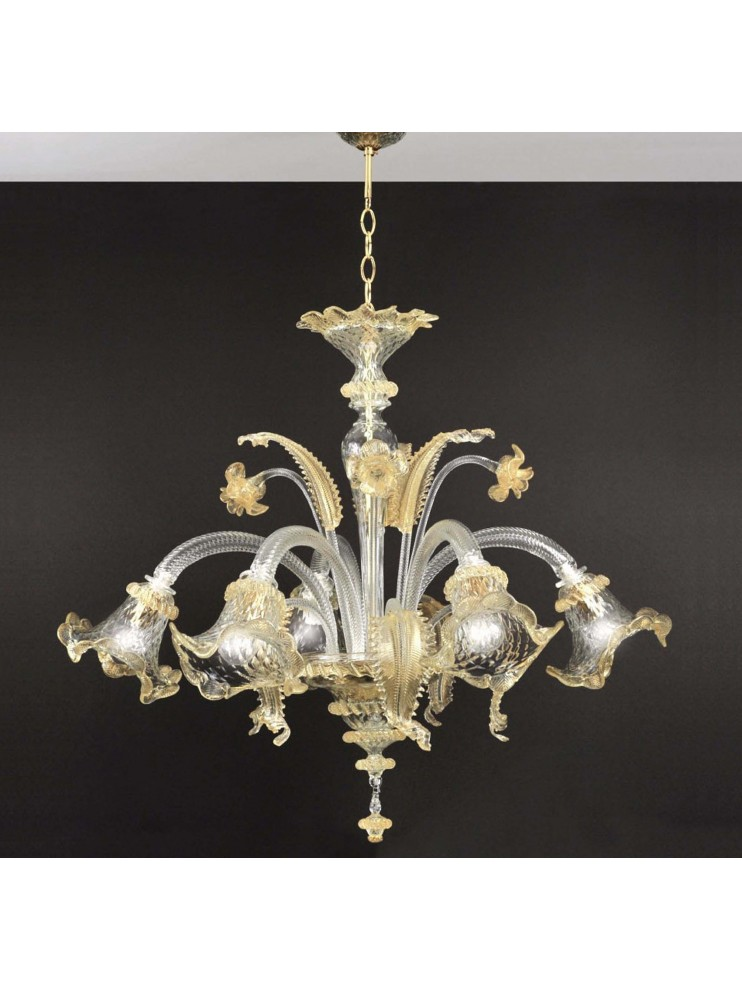 Come si pulisce un lampadario in vetro di murano classico. Lampadario In Vetro Murano Di Venezia A 5 Luci Elena Oro