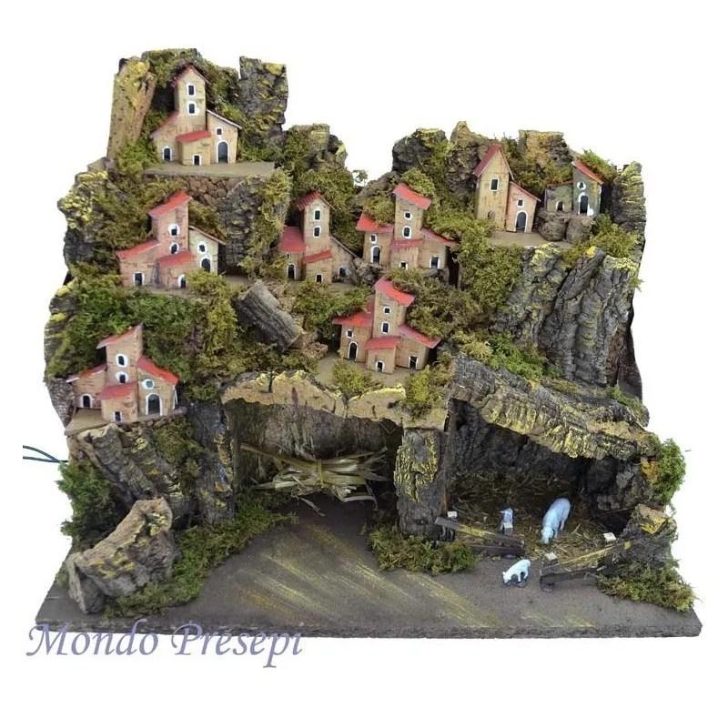 Paesaggio con grotte dotato di luci 45x30