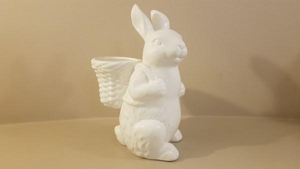 coniglio bianco con cesto