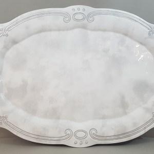piatto ovale in melamina grigia