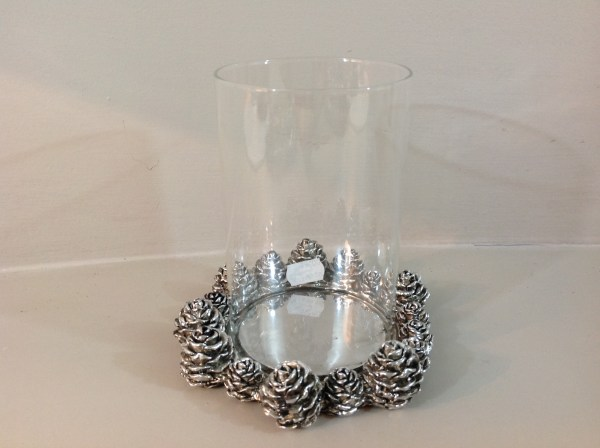 porta candela resina pigne argento e vetro