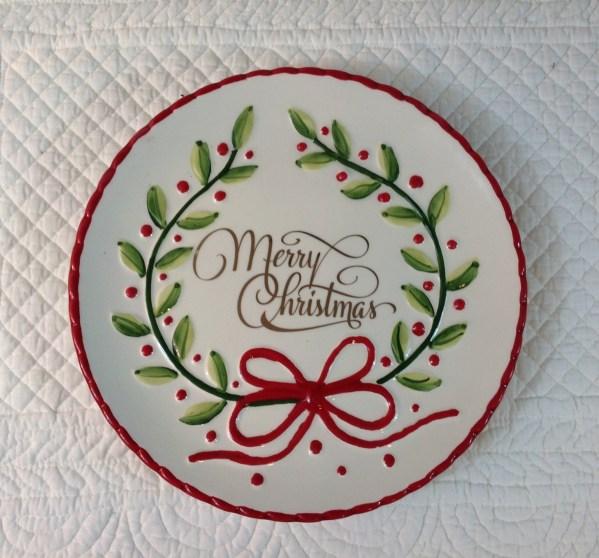piatto dessert merry christmas in ceramica