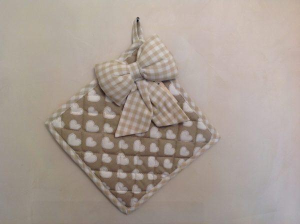Angelica Home & Country Presina cuori beige con fiocco quadrata