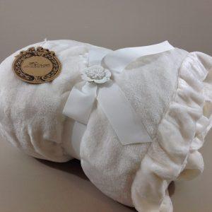 Blanc Mariclò Plaid con frappa rosa antico