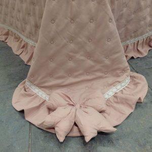 Blanc Mariclò Boutis matrimoniale rosa in microfibra con borsina con gala e fiocchi