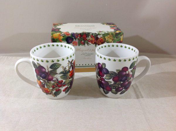 Brandani Set 2 mug in porcellana con frutta serie Le Primizie