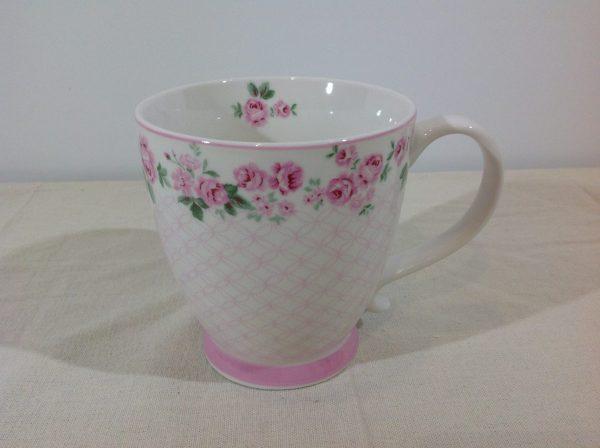 Isabelle Rose Mug con bordo roselline serie Lucy e disegni rosa in porcellana