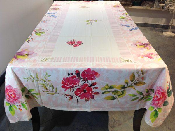 Preziosa Luxury Tovaglia in cotone stampato bordo rose