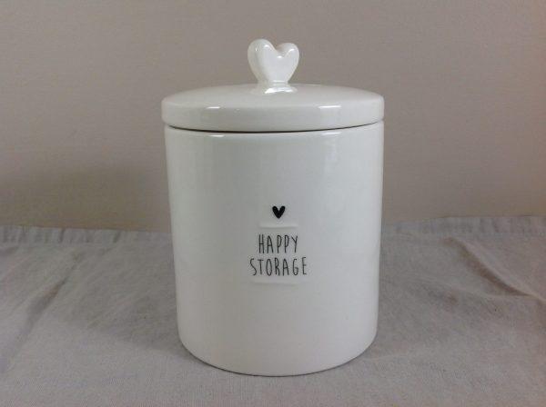 Bastion Collection Barattolo in gres bianco latte con scritta nera Happy storage e cuore nero