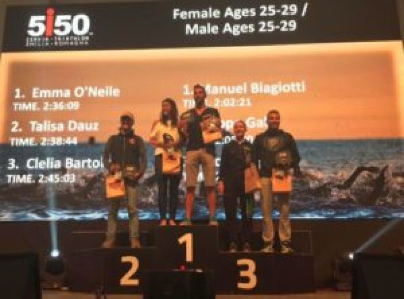 I top 3 donne e uomini cat. 25-29 del 5i50 Cervia Triathlon 2017
