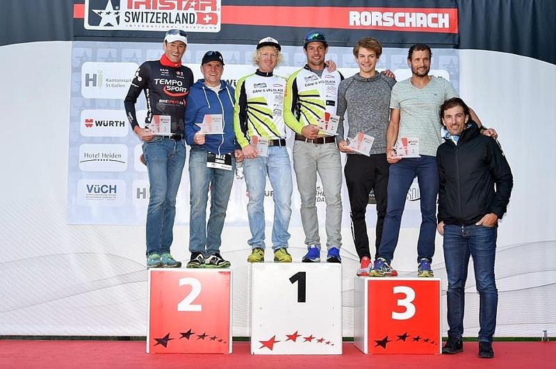 Il podio del TriStart Switzerland 2017, a destra Fabian Cancellara