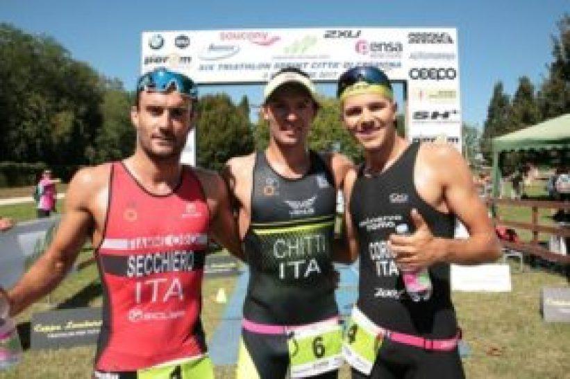 I top 3 del Triathlon Sprint Città di Cremona 2017: Andrea Secchiero, Dario Chitti e Marco Corrà