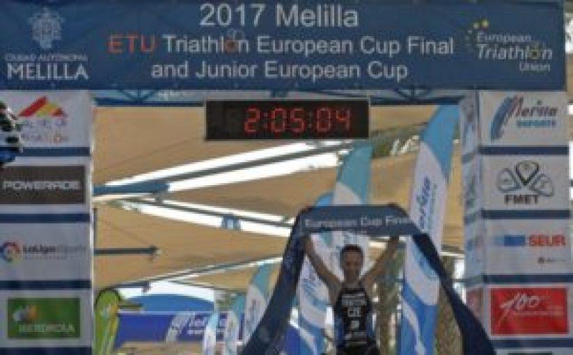 La ceca VendulaFrintova vince la ETU Triathlon European Cup Final, a Melilla (Spagna), l'8 ottobre 2017 (Foto ©European Triathlon Union)