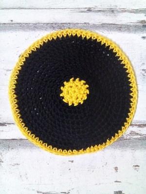 Kippa Tabor gehäkelt schwarz gelb - MONDSPINNE