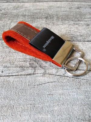 Schlüsselanhänger de luxe rost orange braun Wollfilz Leder - MONDSPINNE