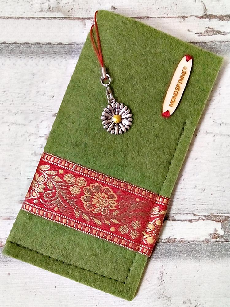 Brillenetui Blüten grün-rot-gold mit Charm - MONDSPINNE