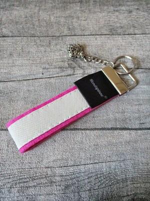Schlüsselanhänger extra de luxe rosa weiß Wollfilz Leder Charm - Mondspinne