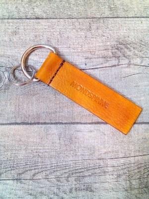 "Schlüsselanhänger ""Rustikal"" (gelb) aus Rindsleder - Mondspinne"