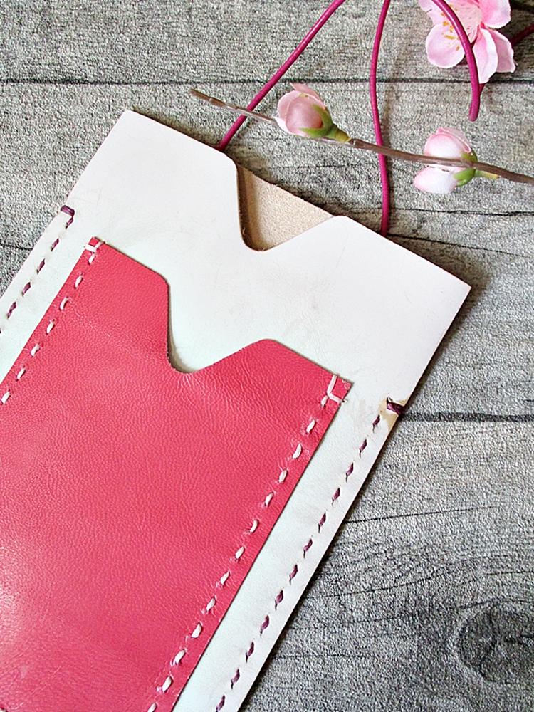 Brustbeutel Peru elfenbein-pink Kalbleder Ziegenleder - MONDSPINNE