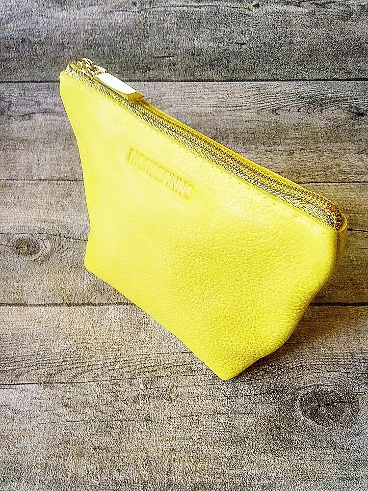 Kosmetiktasche Glamour gelb-gold ecopell-Öko-Rindsleder-Nappaleder - MONDSPINNE