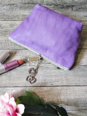 Kosmetiktasche Glamour lavendel-silber ecopell-Öko-Rindsleder-Nappaleder