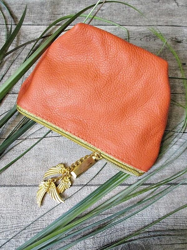 Kosmetiktasche Glamour orange-gold Rindsleder-Nappaleder - MONDSPINNE