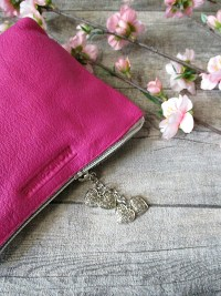 Kosmetiktasche Glamour purpur-silber ecopell-Öko-Rindsleder-Nappaleder