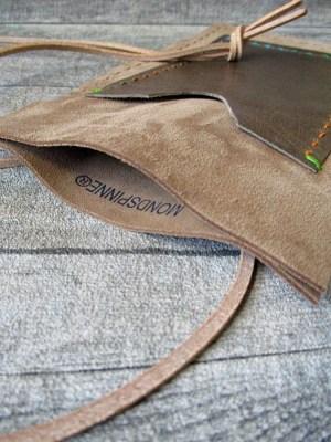 Brustbeutel Peru sand-braun Rindswildleder Büffelkalbsleder - MONDSPINNE