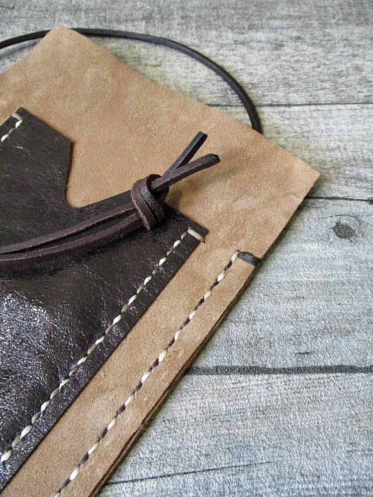 Brustbeutel Peru sand-dunkelbraun Rindswildleder Rindsleder - MONDSPINNE