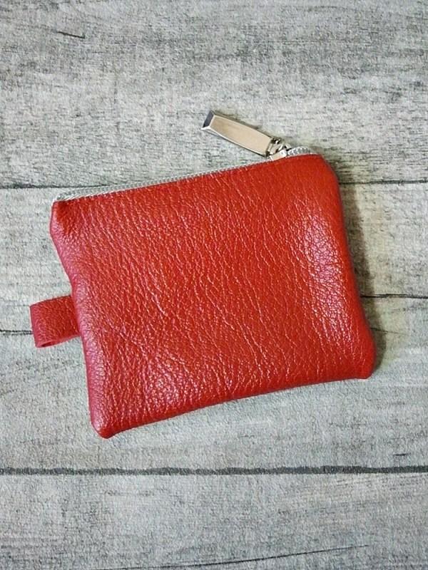 Schlüsseltasche Herzblut rot-silber Leder - MONDSPINNE