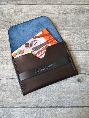 Kreditkartenetui Linus braun-blau Rindsleder - MONDSPINNE