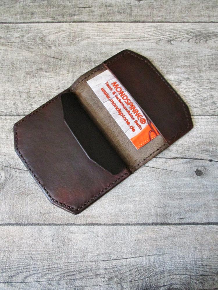 Kreditkartenetui Portemonnaie Marc schwarzbraun-rotbraun Rindsleder - MONDSPINNE