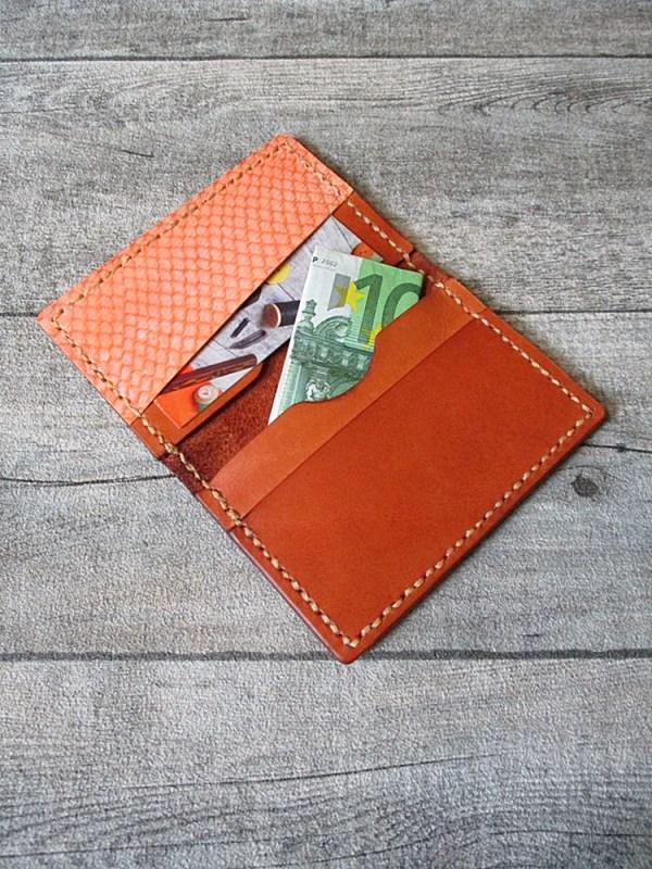 Kreditkartenetui Pedro cognac-orange Rindsleder Lachsleder - MONDSPINNE