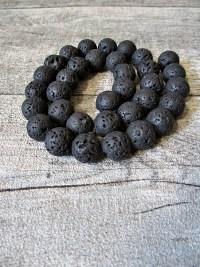 Lava Perle Kugel schwarz 10mm - MONDSPINNE