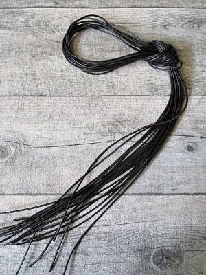 Lederband Lederriemen Ziegenleder schwarz rund 1m 1,5mm - MONDSPINNE