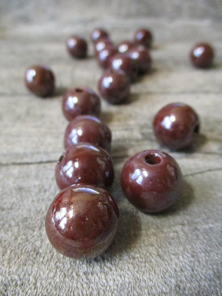 Porzellanperlen Großlochperlen schokobraun pearlized vernickelt - MONDSPINNE