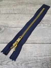 Reißverschluss dunkelblau messing 18 cm lang 3 cm breit YKK - MONDSPINNE