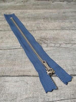 Reißverschluss graublau altsilber 18 cm lang 2,7 cm breit YKK - MONDSPINNE
