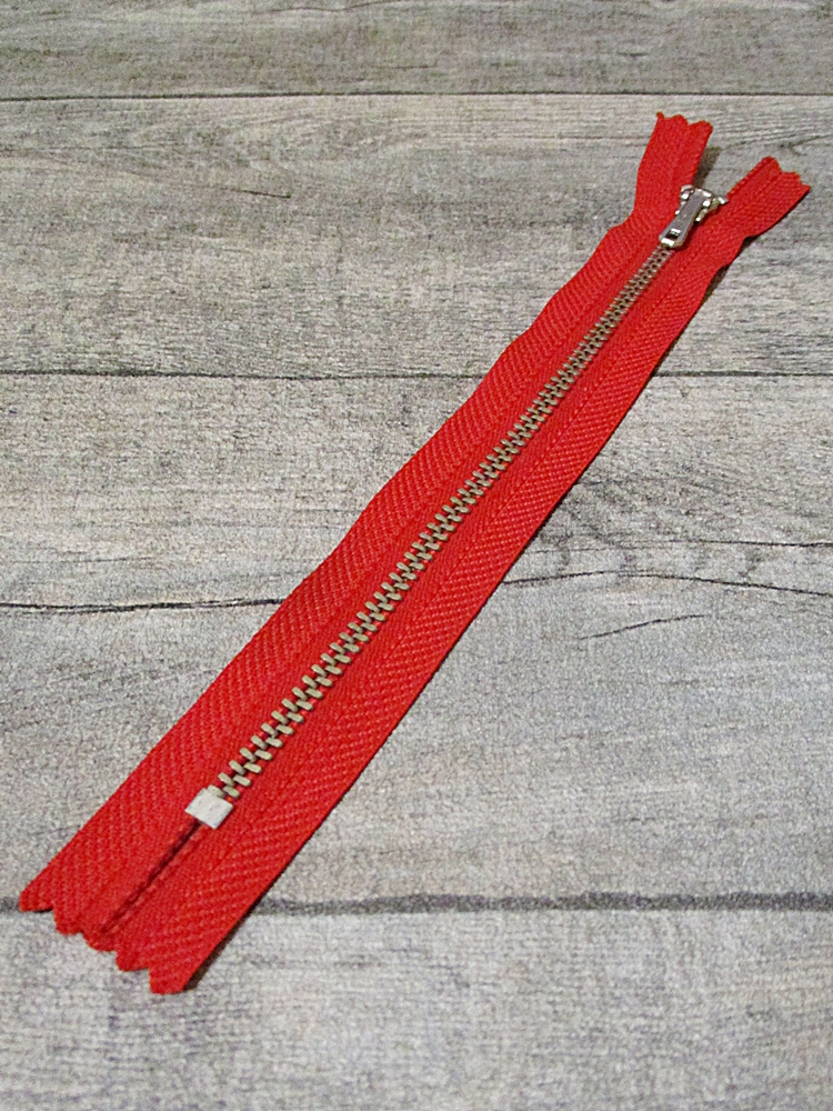 Reißverschluss rot altsilber 18 cm lang 2,7 cm breit YKK - MONDSPINNE