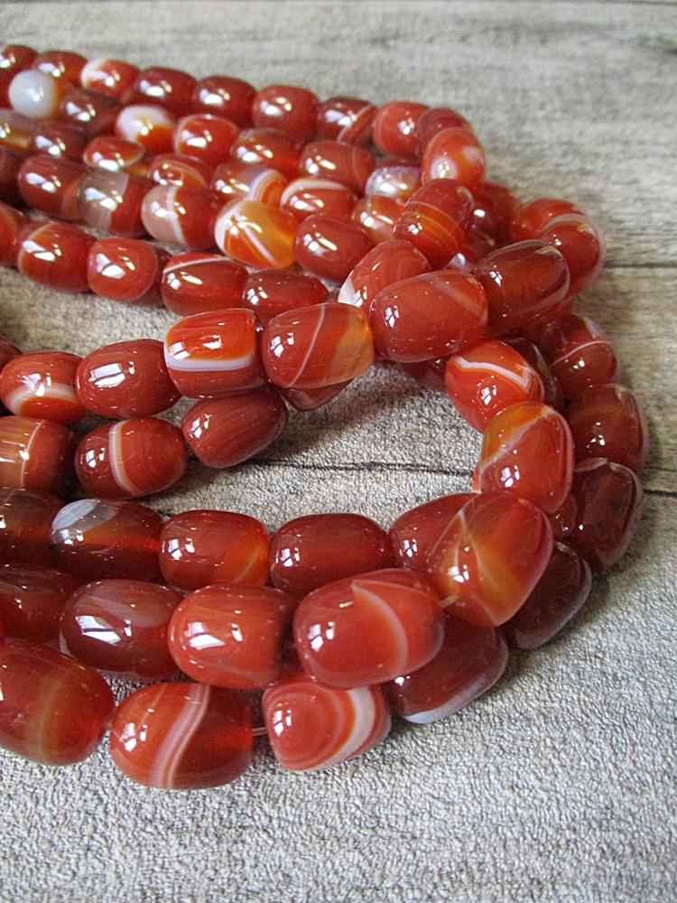 Achatperlen rot orange weiß koralle oval eiförmig 14x10 mm - MONDSPINNE