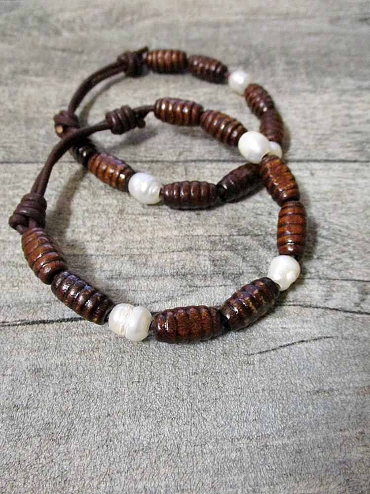 Armband perlmutt braun Holz Leder Perlen - MONDSPINNE