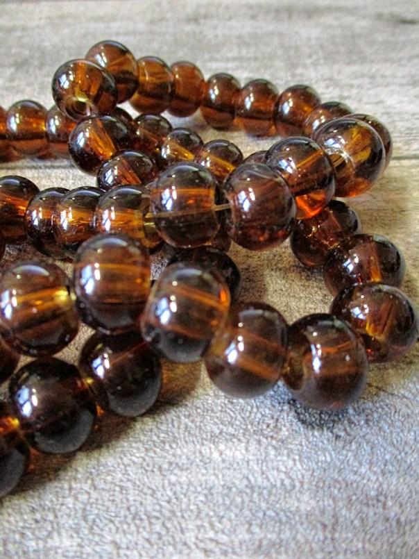 Glasperlen Glaskugeln Großlochperlen braun rund 12x9 mm Lochgröße 3,5 mm - MONDSPINNE