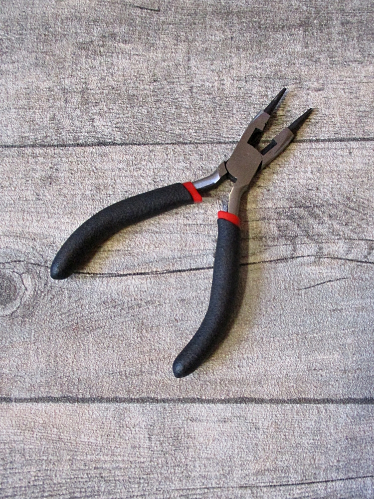 Schmuckzange Rundzange Drahtschneider schwarz pistolenschwarz ummantelter Griff Softgriff 128x65x10 mm - MONDSPINNE