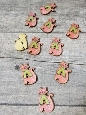 Holzknopf Knopf Holz Katze mit Schal rosa grün 30x18x2,5 mm - MONDSPINNE