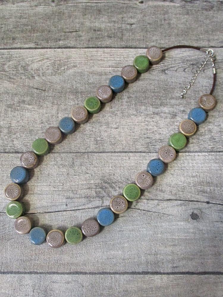 Kette Lederkette Porzellankette graubraun grün blau Karabinerverschluss - MONDSPINNE