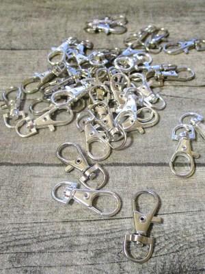 Schlüsselkarabiner Karabiner Metall silber 37x15x4 mm - MONDSPINNE