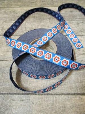 Webband Zierband ANEMONA BOOM Lila-Lotta Design 2014 blau weiß rot 15 mm Polyester - MONDSPINNE